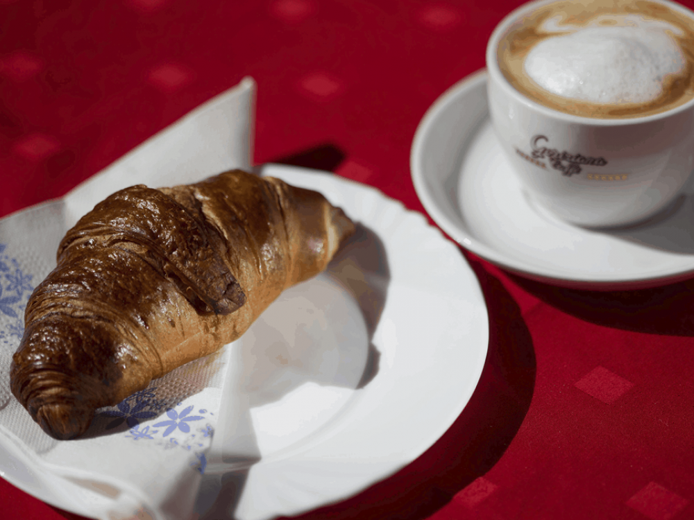 Head to the bar for coffee, pastry and bread